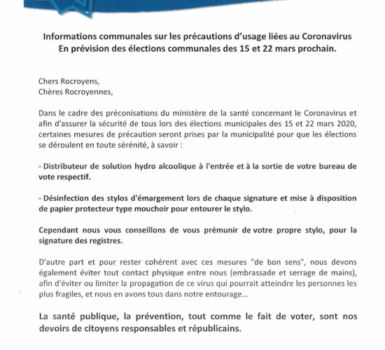Informations communales – Elections Communales – Coronavirus