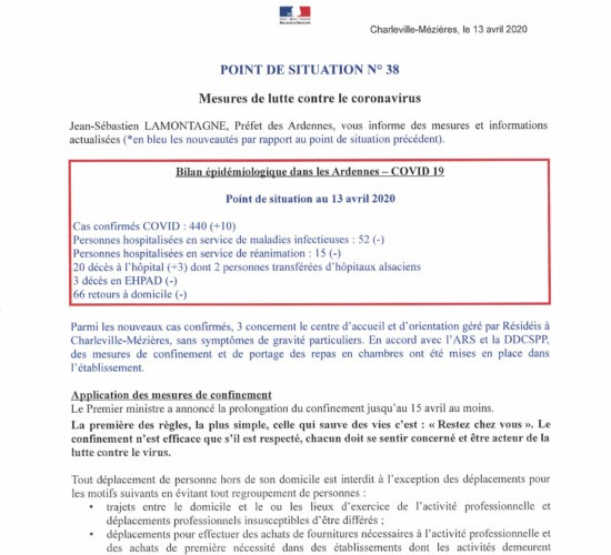 Coronavirus – point de situation n°48 au 23 avril 2020