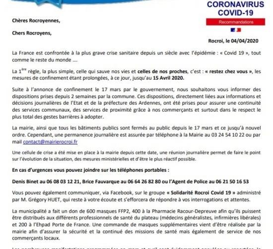 Informations Municipales CORONAVIRUS