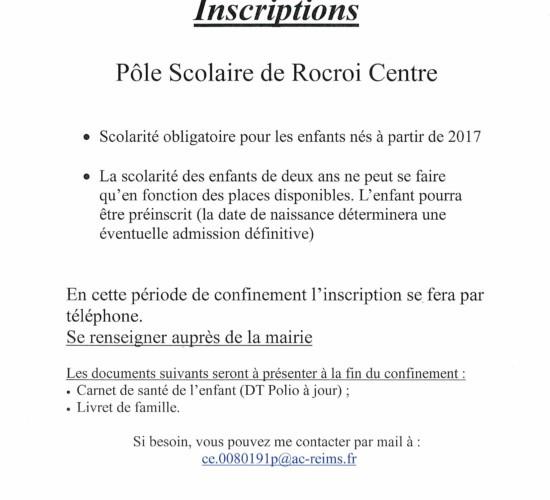 Rentrée Scolaire 2020/2021 – Inscriptions