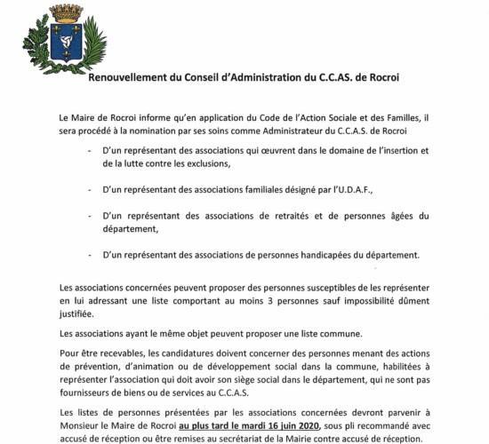 Renouvellement du Conseil d'Administration du C.C.A.S